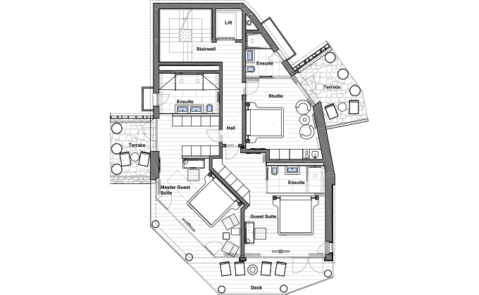 Floor plans of chalet zermatt peak for Swiss chalet plans